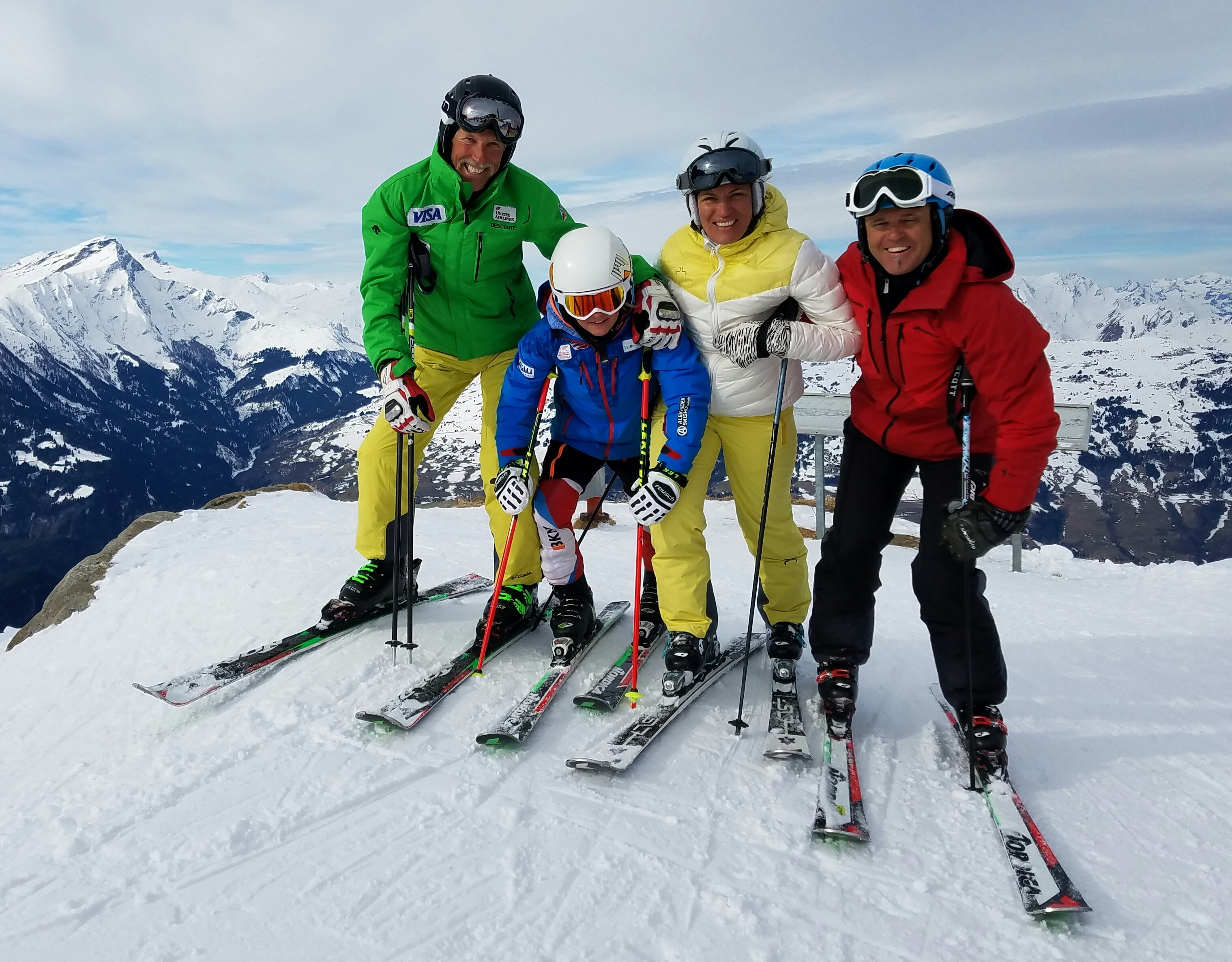 Ski tour photo - Erwin with clients on top of snowy mountain