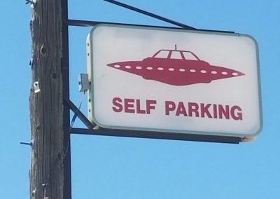 UFO self parking sign from area 51