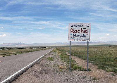 Rachel NV Zeichen auf dem Weg zum Gebiet 51
